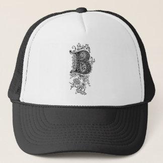 Black Vintage Floral Monogram B Initial Letter Trucker Hat