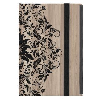 Black Vintage Lace Over Blond Wood Texture iPad Mini Case