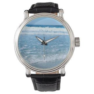 Black Vintage Leather Watch Ocean