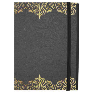 Black Vintage leather With Gold Lace Border