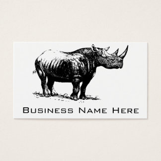 Black Vintage Rhinoceros Line Art Business Card