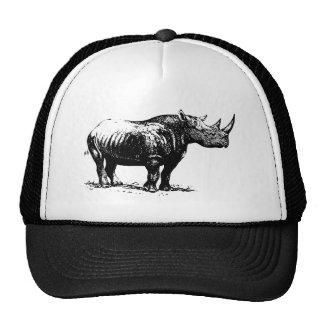 Black Vintage Rhinoceros Line Art Cap