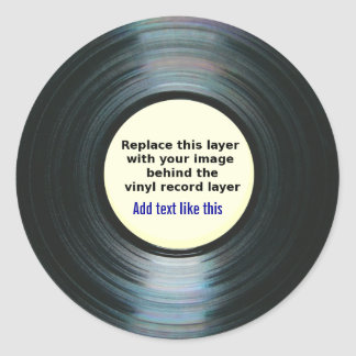 Black Vinyl Music Record Label With Your Photo Round Sticker