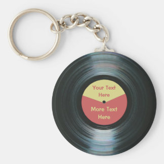 Black Vinyl Music Red and Yellow Record Keyring Basic Round Button Key Ring
