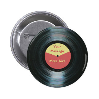 Black Vinyl Music Red and Yellow Record Label 6 Cm Round Badge
