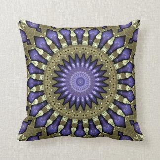 Black Violet Purple Faux Gold Mandala Pattern Cushion