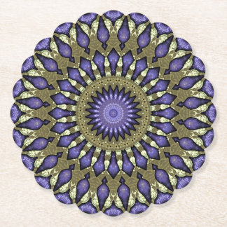 Black Violet Purple Faux Gold Mandala Pattern Paper Coaster
