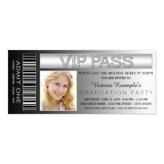 Black VIP Pass Admission Ticket Graduation Party Card