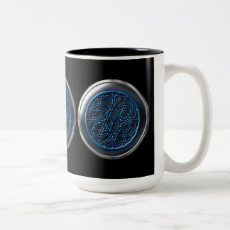 Black Visionary Warrior Shield Two-Tone Coffee Mug