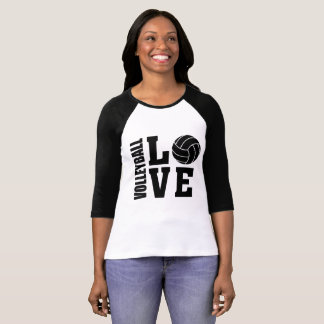 Black Volleyball Love, Volleyball T-Shirt