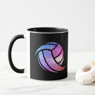 Black Volleyball Mug - Funny Gradient Sparkle Ball