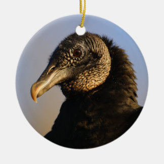black vulture face ceramic ornament