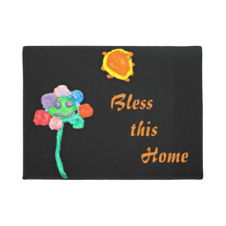 Black w/colorful childart doormat Bless this Home