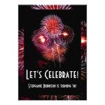 Black w/ Fireworks Birthday Party Invitations