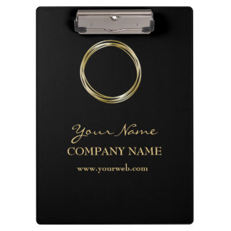 Black W Golden Ring Minimalist Black Gold LOGO Clipboard