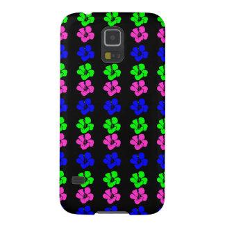 Black w/Neon PinkGrnBlu Hibiscus Flower 80's Style Galaxy S5 Cover