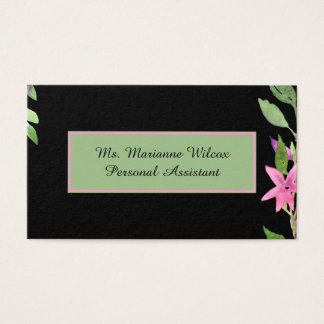 Black W Pink Floral and Green Rectangle Business Card