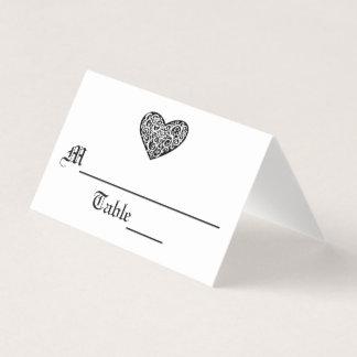 Black w/White Swirly Heart - Escort Card