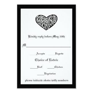 Black w/White Swirly Heart - RSVP Card