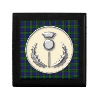 Black Watch Scottish Tartan with Thistle Emblem Small Square Gift Box