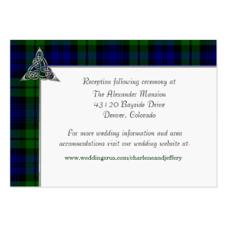 Black Watch Tartan Plaid Wedding Large Business Cards (Pack Of 100)