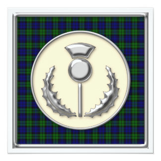 Black Watch Tartan Save the Date with Thistle Card