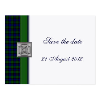 Black Watch Tartan with Celtic Badge Save the Date Postcard