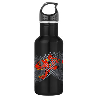 Black water bottle modern design angry fish