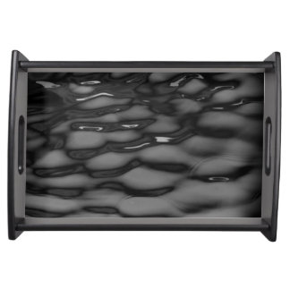 black water waves serving tray