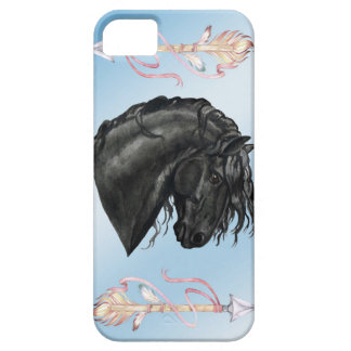 Black Watercolor Friesian Horse on powder blue iPhone 5 Cover