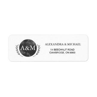 Black Watercolor Personalized Monogram Return Address Label