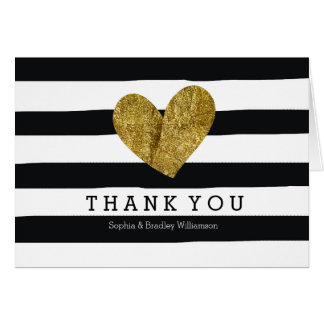 Black Watercolor Stripes Gold Heart Thank you Note Card