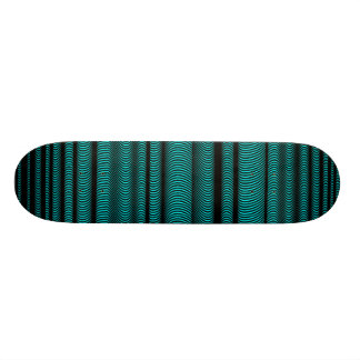 Black Wavy Lines - On Cyan Skate Decks