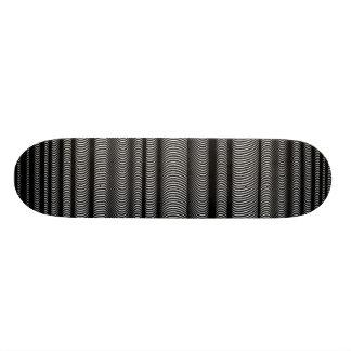 Black Wavy Lines - On White Skateboard