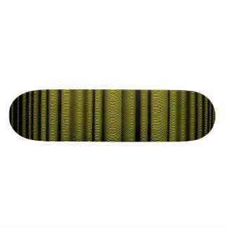 Black Wavy Lines - On Yellow 20 Cm Skateboard Deck