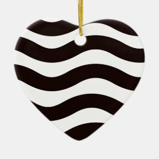 Black Wavy Stripes Ceramic Heart Decoration