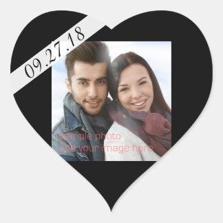 Black Wedding Date Photo Heart Shaped Sticker