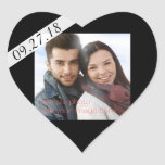 Black Wedding Date & Photo Heart Sticker Reminder