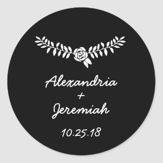 Black wedding favor round stickers floral vine