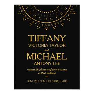 Black Wedding Invitation with Gold Lettering
