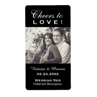 Black Wedding Photo Wine Bottle Favor Labels
