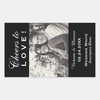 Black Wedding Photo Wine Bottle Favour Rectangular Sticker