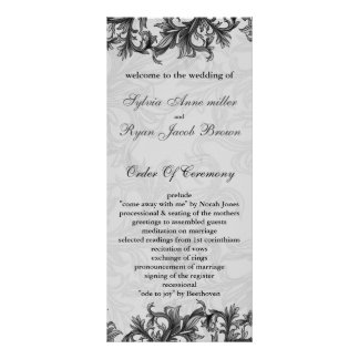 black Wedding program Full Colour Rack Card