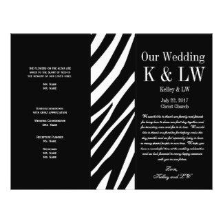 Black Wedding Program Zebra Stripes Pattern Flyer