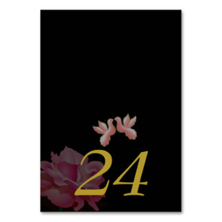 BLACK WEDDING TABLE CARDS DOVES BIRDS FLOWERS
