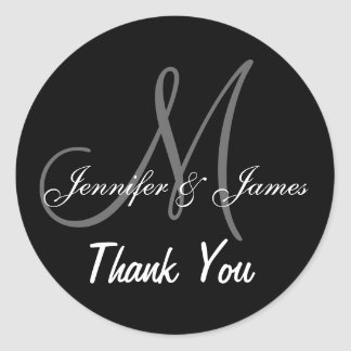 Black Wedding Thank You Monogram Names Classic Round Sticker