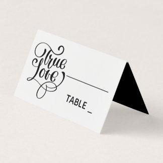 Black Wedding True Love Typography Wedding Party Place Card