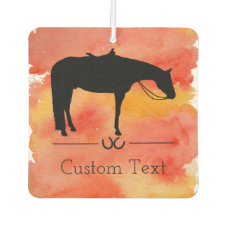 Black Western Horse Silhouette on Watercolor Car Air Freshener