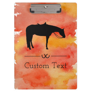 Black Western Horse Silhouette on Watercolor Clipboards