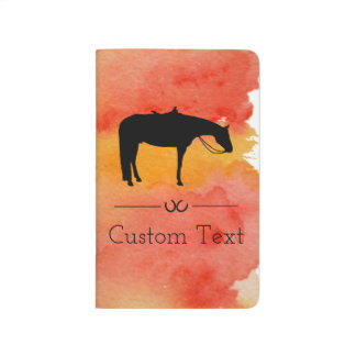 Black Western Horse Silhouette on Watercolor Journal